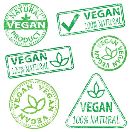 Vegan and natural food. Rubber stamp vector illustrations Vector