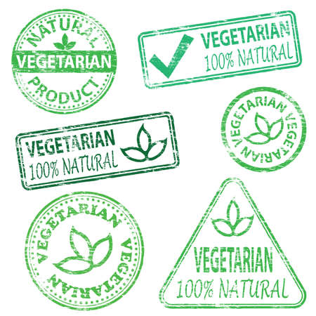 Vegetarian and natural food. Rubber stamp vector illustrations Illustration
