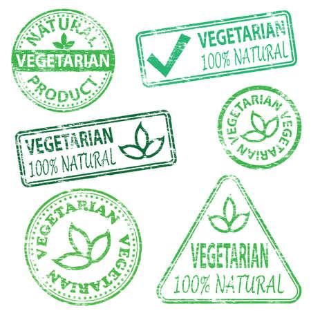 Vegetarian and natural food. Rubber stamp vector illustrations Illustration