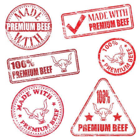 Made with premium beef. Rubber stamp vector illustrations Vector