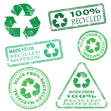 recycle icon: Made from recycled material. Rubber stamp vector illustrations