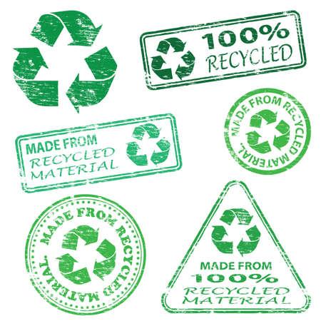 Realizzata in materiale riciclato. Rubber Stamp illustrazioni