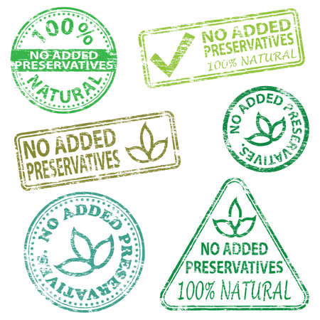 No added preservatives  Rubber stamp vector illustrations Vector