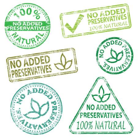 preservatives: Sin conservantes a�adidos de goma ilustraciones vectoriales sello