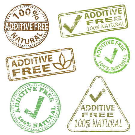 gm: Additive free food. Rubber stamp vector illustrations
