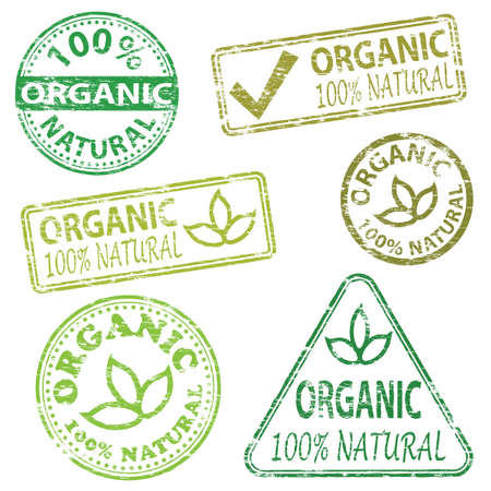 rubber stamp: Organic and natural food. Rubber stamp vector illustrations Illustration