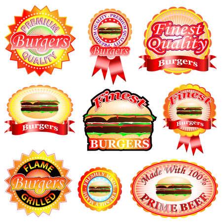 Premium i najlepszych hamburgery jakoÅ›ci. Odznaki i etykiety