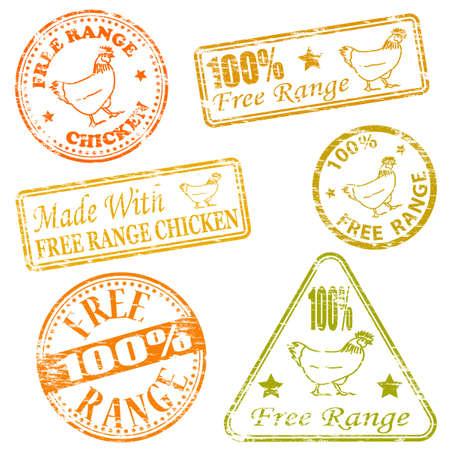leque: Feito com alcance de frango ilustra��es livres carimbo de borracha