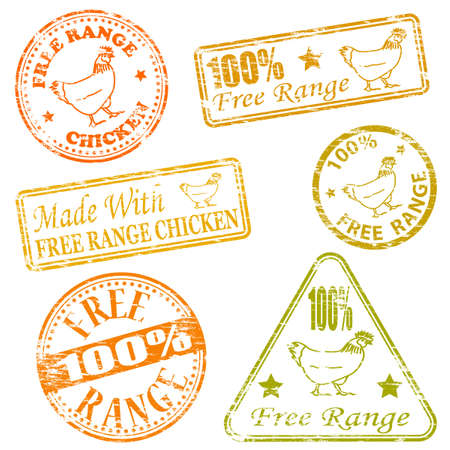 Made with free range chicken rubber stamp illustrations Vector