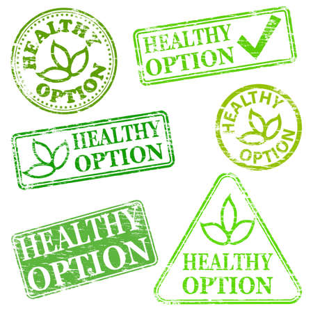 gm: Healthy option.  Grungy rubber stamp illustrations Illustration