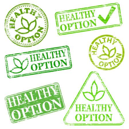 preservatives: Opci�n saludable. Grungy de goma ilustraciones sello Vectores