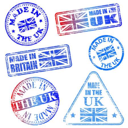 Hecho en el Reino Unido. Ilustraciones sello de goma Foto de archivo - 17373402