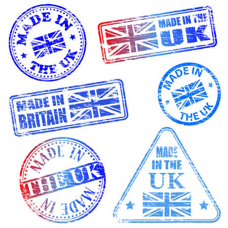 Made in the UK. Rubber stamp illustrations Stock Vector - 17373402