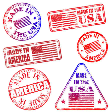 tatty: Made in America. Rubber stamp illustrations Illustration