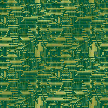Electronic circuit board. Tileable seamless repeating background Vector