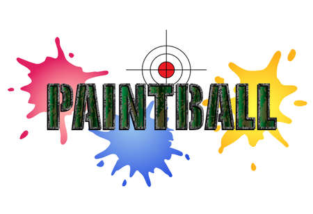 Paintball logo in camouflage style with paint smears and target Illustration
