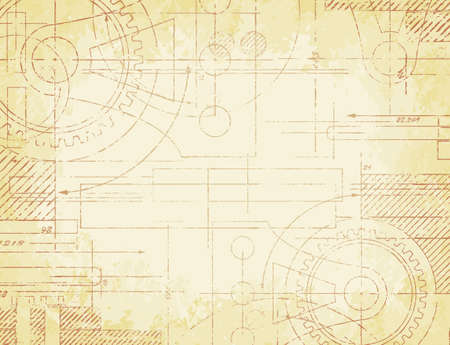 Grungy old technical blueprint illustration on faded paper background Vector