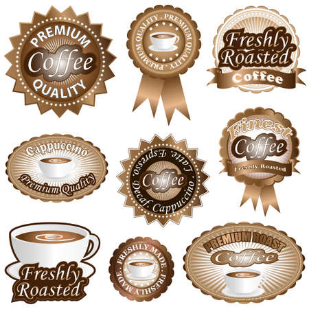 freshly: Freshly roasted coffee labels and badges  Illustration