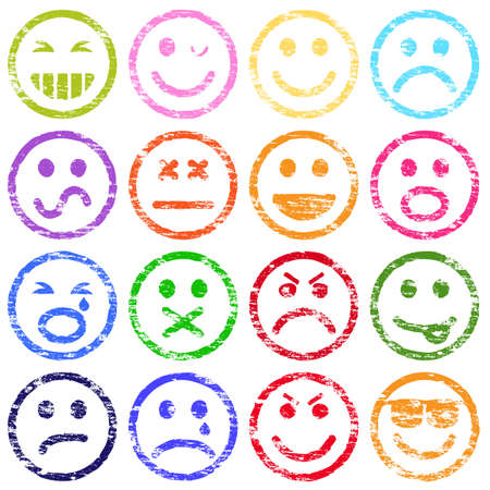 Colorful smiley face rubber stamp illustrations