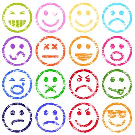 cara sonriente: Colorido cara sonriente ilustraciones del sello de goma
