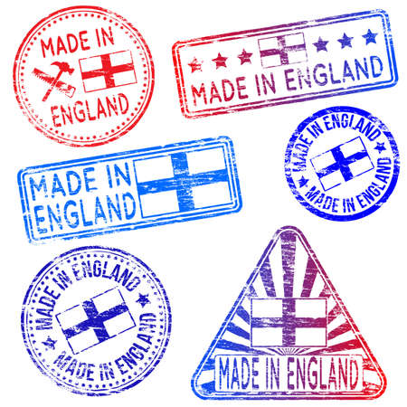 tatty: Made in England. Rubber stamp vector illustrations