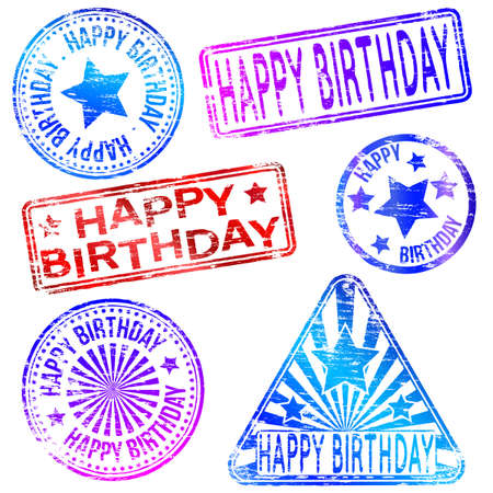 tatty: Happy Birthday. Rubber stamp vector illustrations Illustration