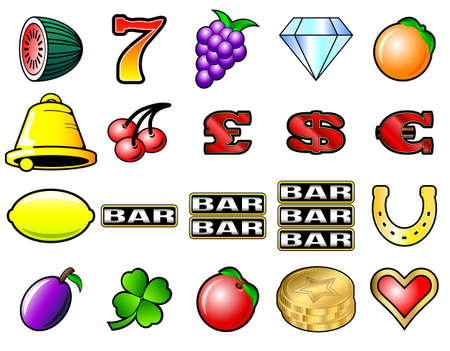 machine: Slot machine fruits and other icon vector illustrations Illustration