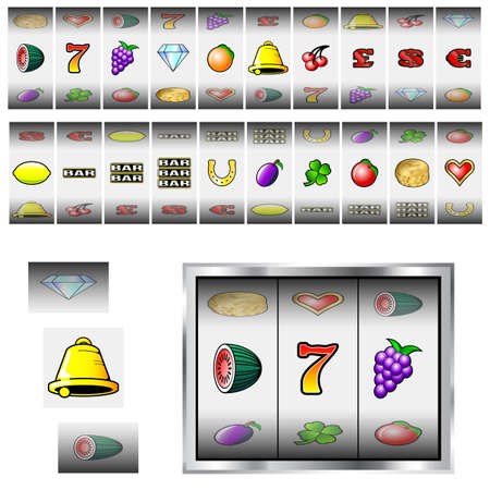 Set of slot machine fruit and icon reels Vector