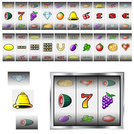 Set of slot machine fruit and icon reels Illustration