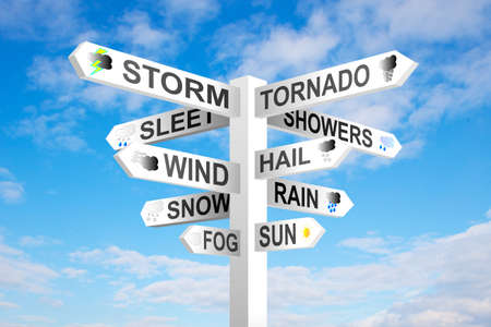 Weather signpost on blue cloudy sky background photo