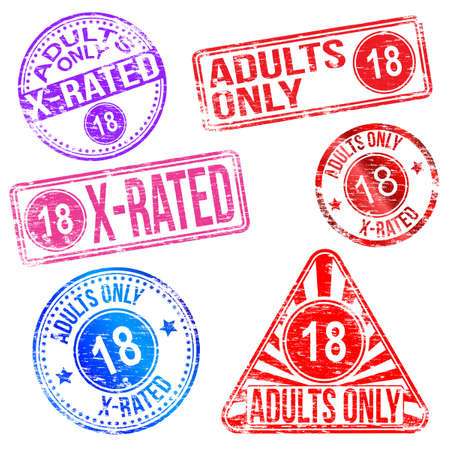 esplicito: Solo e X rated timbro di gomma Adulti Vettoriali