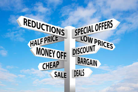 Sale signpost on blue cloudy sky background Stock Photo - 18874938