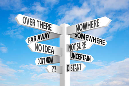 Uncertain direction sign post on blue sky background Stock Photo
