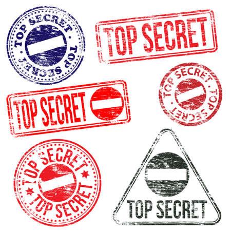 top secret: Rectangular and round top secret rubber stamp