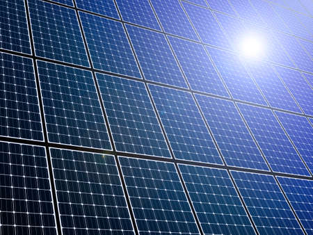 array: Large array of solar panels with sunlight reflection Stock Photo