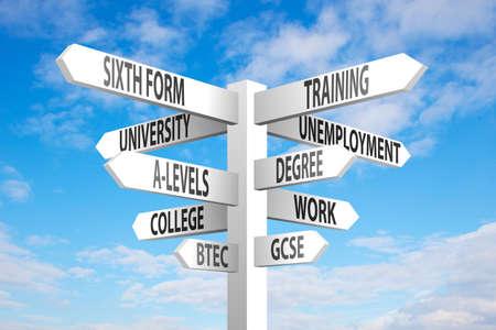 sixth form: Educaci�n y empleo poste indicador decisiones sobre fondo de cielo azul