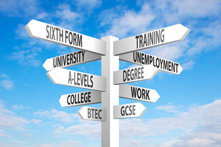 sixth form: Education and employment choices signpost on blue sky background