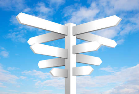 Blank signpost on cloudy blue sky background