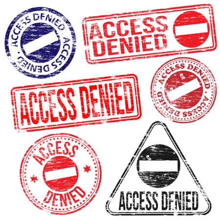 denied: Acceso rectangular y redondo neg� vectores sello de goma Vectores