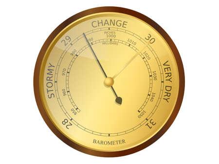 atmospheric pressure: Old brass and wooden barometer vector illustration