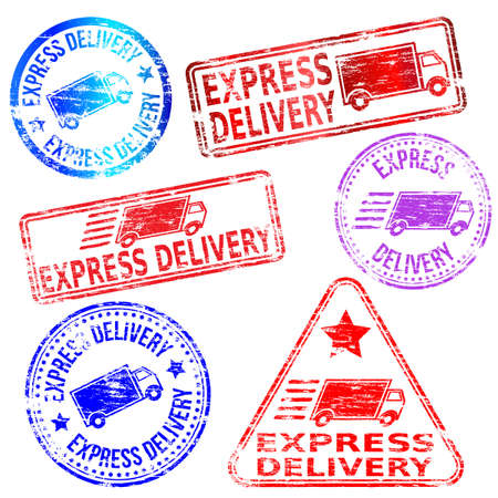 Rectangular and round express delivery rubber stamp vectors Vector