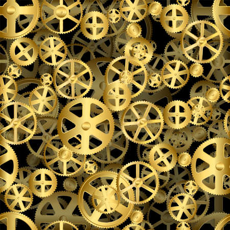 Repeating gold seamless gear wheels industrial background Vector