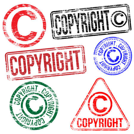 Rectangular and round copyright rubber stamp Vector