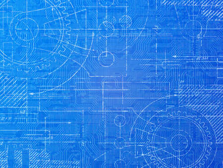 faded: Technical blueprint electronics and mechanical  background illustration