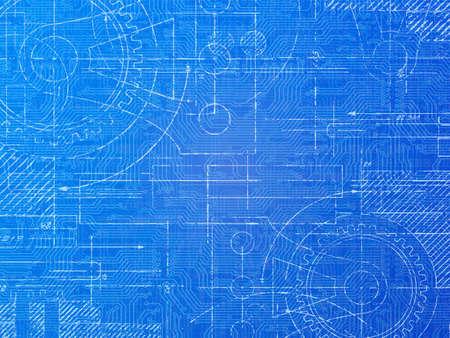 Technische blauwdruk elektronica en mechanische achtergrond afbeelding Stockfoto