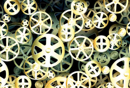 engineered: Dirty old gear wheels industrial background illustration
