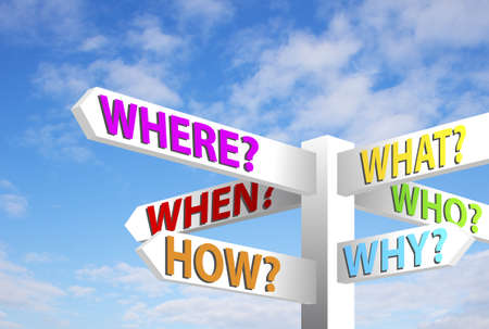 Question sign post. Who, what, when, where, how, why, against blue sky Stock Photo