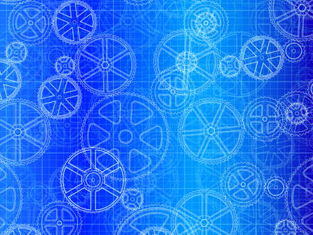 engineered: gear wheels industrial blueprint artistic background illustration