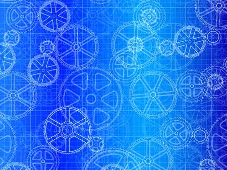 engineered: gear wheels industrial blueprint artistic background illustration
