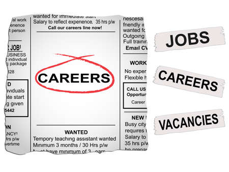 newspaper articles: Vector newspaper clipping. Careers and jobs section